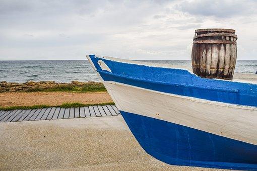 Barrel, Old, Wooden, Rusty, Boat, Port, Decorative