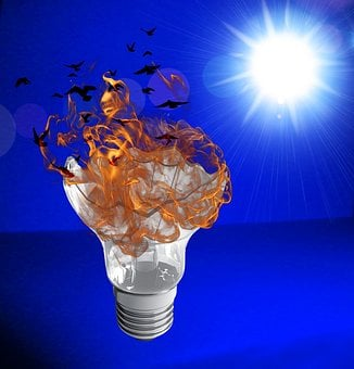 Lamp, Light, Bulb, Fire, Sun, Blue, Outbreak, Flame