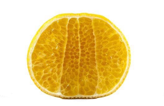 Fruit, White Background, Macro, Mandarin, Cut, Orange