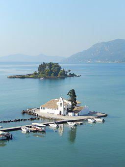 Corfu, Island, Greece, Sea, Monastery