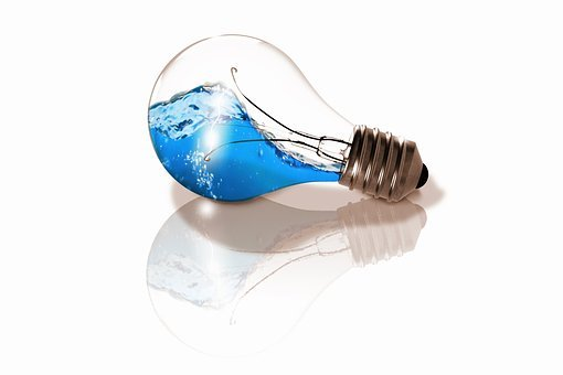 Light Bulb, Water, Wave, Composing, Version, Blue