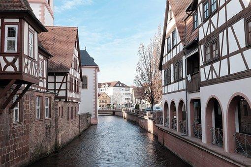 Erbach, Odenwald, Fachwerkhäuser, River, Village, Hesse