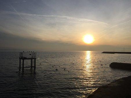 Lake Geneva, Sunset, Lausanne, Lake, Sky