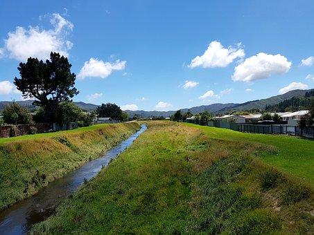 Landscape, Creek, River, Sky, Foliage, Grass