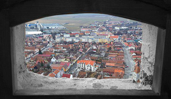 Viewing Window, Panorama, City, Transylvania, Romania