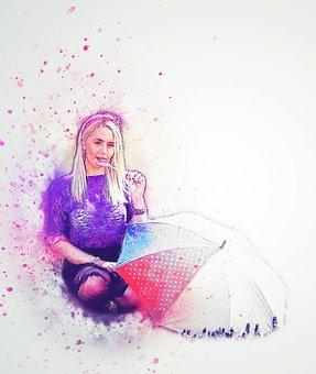 Girl, Umbrella, Lollipop, Art, Abstract, Fashion