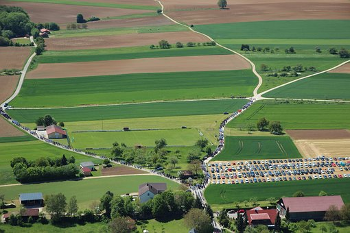 Firefighter Firmly, Aerial View, Green, Rural, Fields