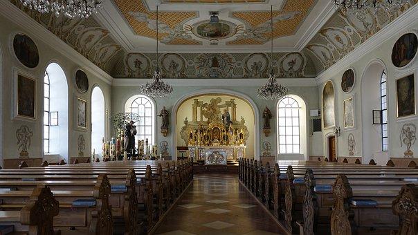 Nave, Altötting, Catholic, Altar, Church Pews