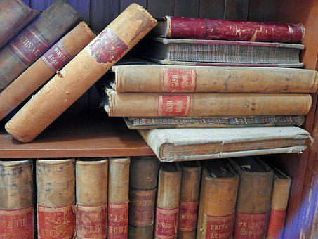 Books, Old, Antiquarian, Old Script, Bookcase, Spine