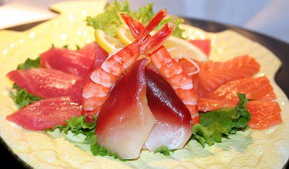 Sushi, Fish, Raw, Shrimp, Meal, Asian, Japanese, Dish