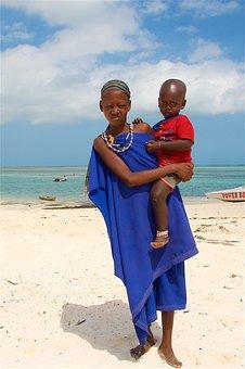 Woman With A Child, Beach, Zanzibar, Kids, Africa, Baby