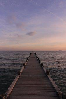 Sea, Pier, Sun, Sunset, Beach, Mediterannee
