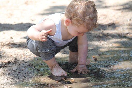Child, Mud, Puddle, Play, Fun, Nature, Bimbo, Hands