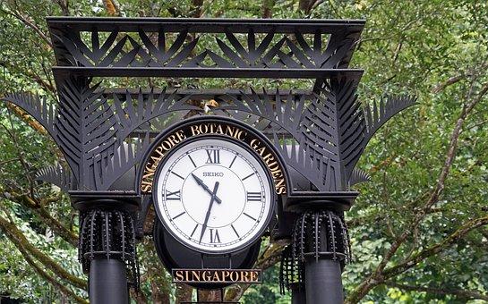 Clock, Botanical Garden, Singapore, Park, Input