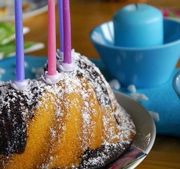 Birthday Cake, Candles, Marble Cake, Icing Sugar