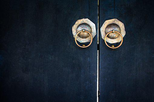 Door, Old, Design, Chaina, Background, Wooden, Chain