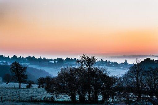Landscape, Mist, Dawn, Winter, Nature, Field, Village