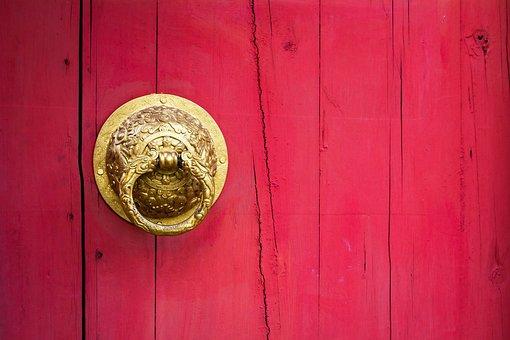Door, Handle, Chinese, Dragon, Golden, Design, China