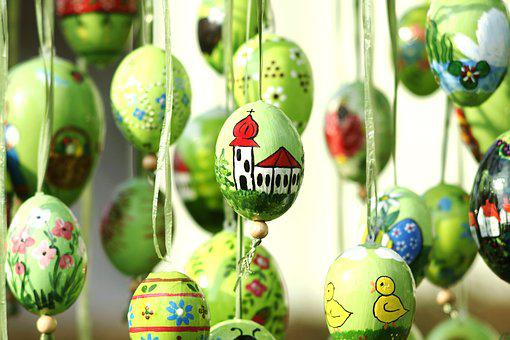 Easter Eggs, Hand Painted, Church, Easter, Green