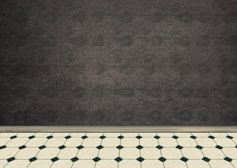 Room, Empty, Interior, Ground, Tiles, White, Black