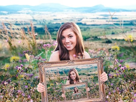 Girl, Holding A Frame, Portrait, Blue, Endless, Flowers