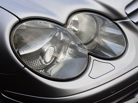 Headlight, Mercedes, C, Class, Car, Auto, Light
