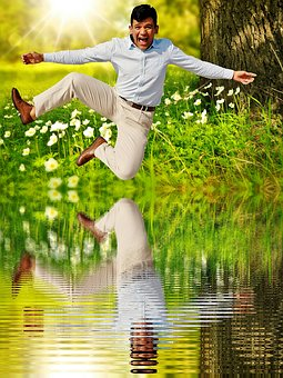 Man, Happy, Air Jump, Mirroring, Water Happy, Laugh