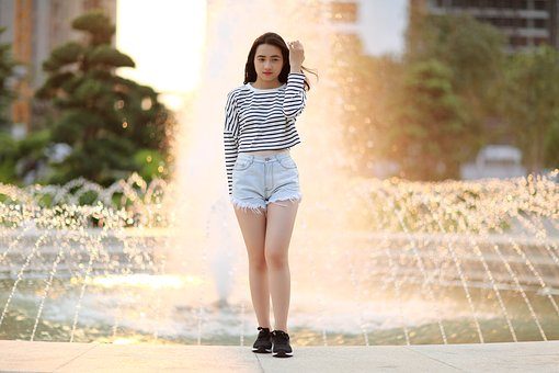 Fountain, Girl, Young, Person, T-shirt, Model, Outdoor