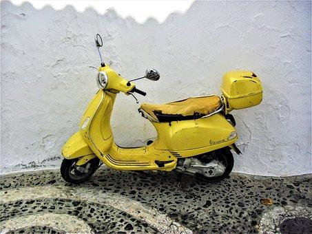 Moped, Vespa, Retro Car, Park, Krad, Motorcycle, Roller