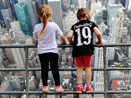 New York, View, Girl, Fence Brave, Gorge, Stunning