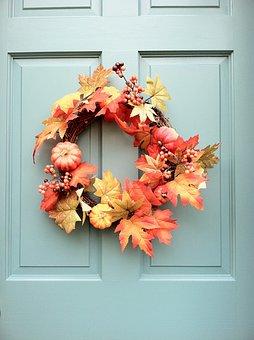 Wreath, Fall, Orange, Autumn, Nature, Season