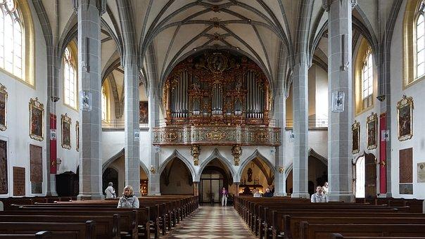 Nave, Organ, Interior, Altötting, Bavaria, Germany