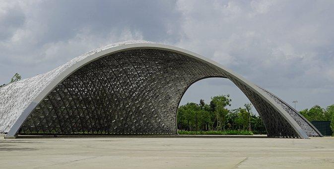 Singapore, Pavilion, Building, Park, Futuristic
