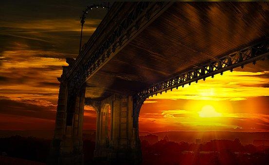 Background, Pattern, Bridge, Sunset, Abstract