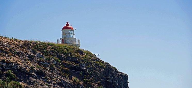 Lighthouse, Otago, New Zealand, Rock, South Island