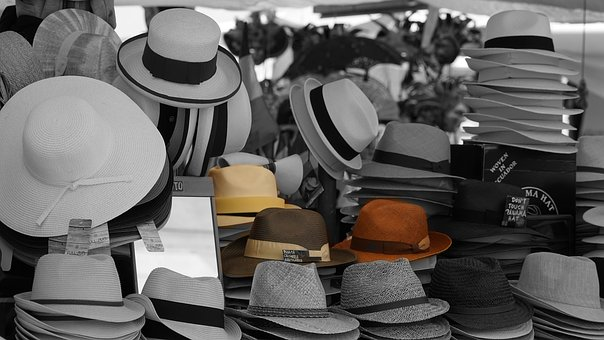 Hats, Sales Stand, Market Stall, Panama Hat, Color Key