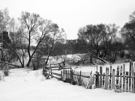 Fence, Yard, Village, Snow, Winter, Net, Zherdina