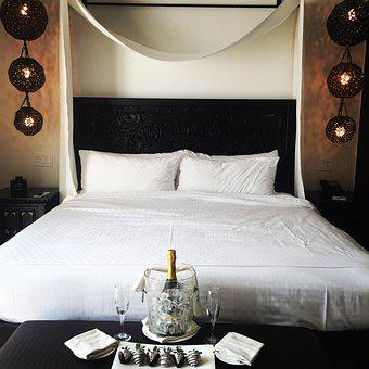 Hotel, King Bed, Champagne, Strawberry, Bedroom