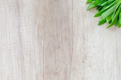 Wood, Table, Herb, Garlic, Food, Green, Spike, Leaf