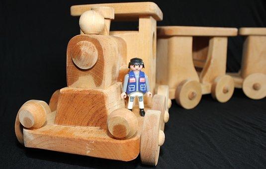 Train, Toys, Wood, Locomotive, Children, Railway