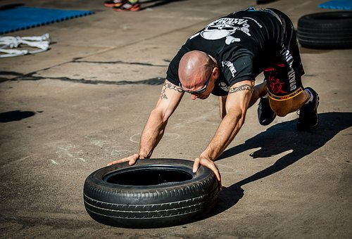 Tyre Push, Tyre Workout, Training, Gym, Hardcore