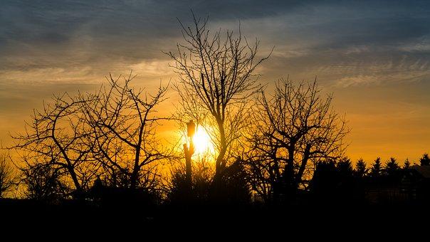 Sunset, Silhouette, Abendstimmung, Clouds, Back Light