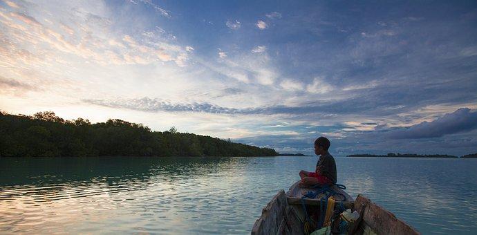 Boy, Boat, Widi Islands, Twilight, Halmahera Island