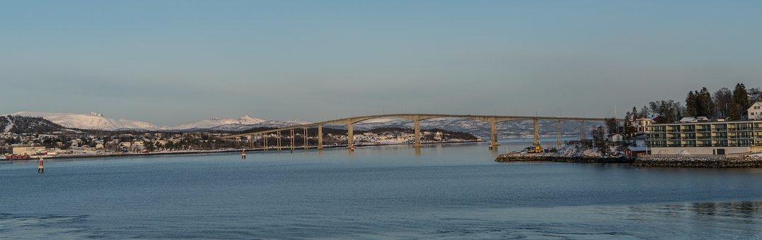 Norway, Tromso, Bridge, Architecture, Mountain