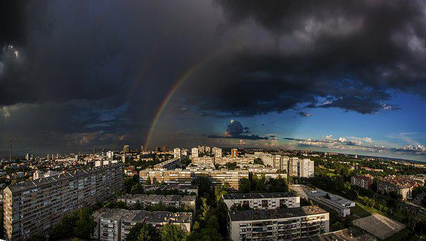 Zagreb, Srednjaci, Croatia, Buildings, Rainbow, Sky