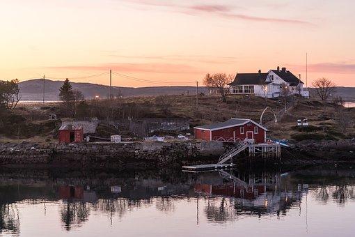 Norway, Coast, Sunset, Architecture, Reflection