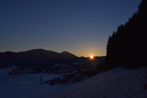 Sunset, Evening, Evening Sky, Abendstimmung, Winter