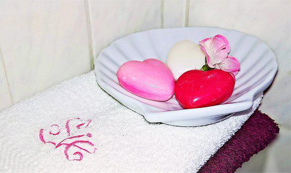 Soap, Guest Soap, Heart, Soap Dish, Shell