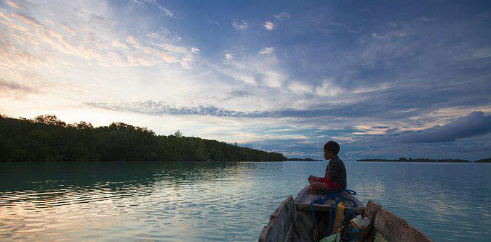 Boy, Boat, Widi Islands, Twilight, Halmahera Island