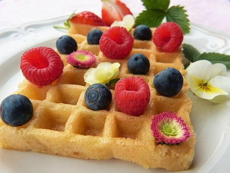 Waffle, Fruit, Flowers, Bake, Sugar, Honey, Sugar-free